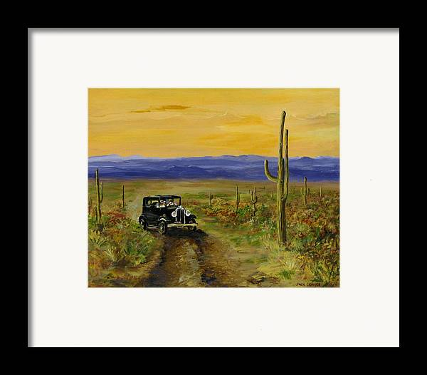 Desert Framed Print featuring the painting Touring Arizona by Jack Skinner