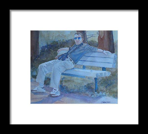 Tourists Framed Print featuring the painting Tourist At Rest by Jenny Armitage
