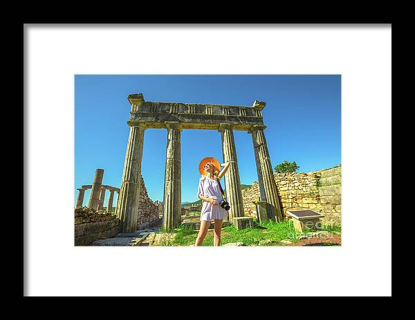 Greece Framed Print featuring the photograph Tourist Traveler Photographer by Benny Marty