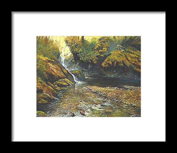 Landscape Framed Print featuring the painting Toward The Source by Craig shanti Mackinnon
