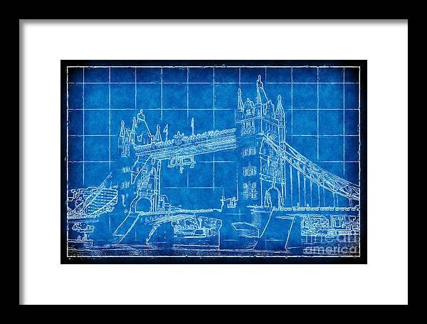 Tower bridge blueprint framed print by john rizzuto tower bridge blueprint framed print featuring the digital art tower bridge blueprint by john rizzuto malvernweather Gallery
