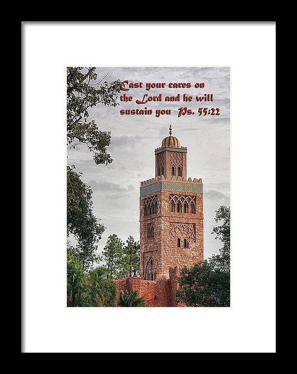 Scripture Framed Print featuring the photograph Tower Building Psalm Fifty Five Vs Twenty Two by Linda Phelps