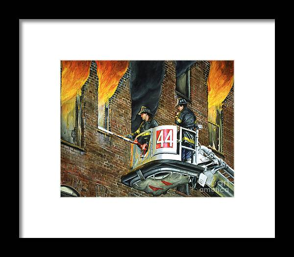 Fdny Framed Print featuring the painting Tower Ladder 44-south Bronx by Paul Walsh