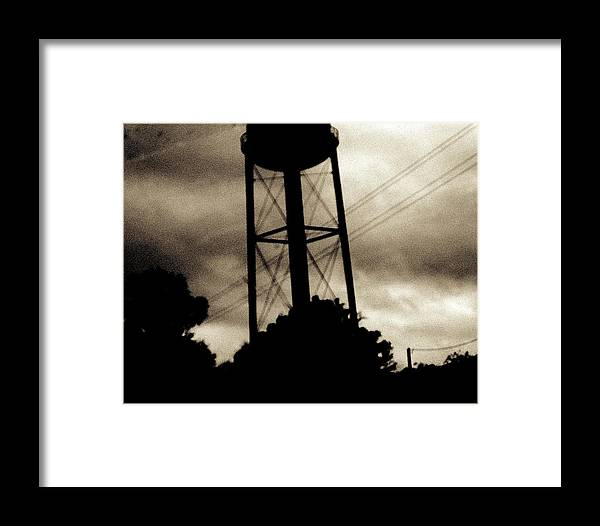 Water Tower Framed Print featuring the photograph Tower With Intersecting Lines II by Stephen Hawks