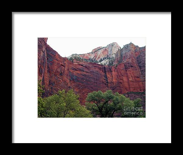 Zion National Park Framed Print featuring the photograph Towering Walls Zion by Jerry Bokowski