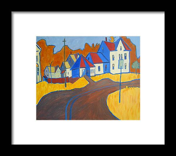 Buildings Framed Print featuring the painting Town Center Plaistow NH by Debra Bretton Robinson