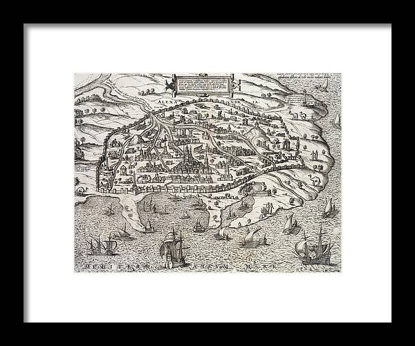 Town Map Of Alexandria In Egypt Framed Print featuring the drawing Town Map Of Alexandria In Egypt by Unknown