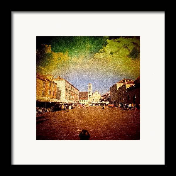 Edit Framed Print featuring the photograph Town Square #edit - #hvar, #croatia by Alan Khalfin