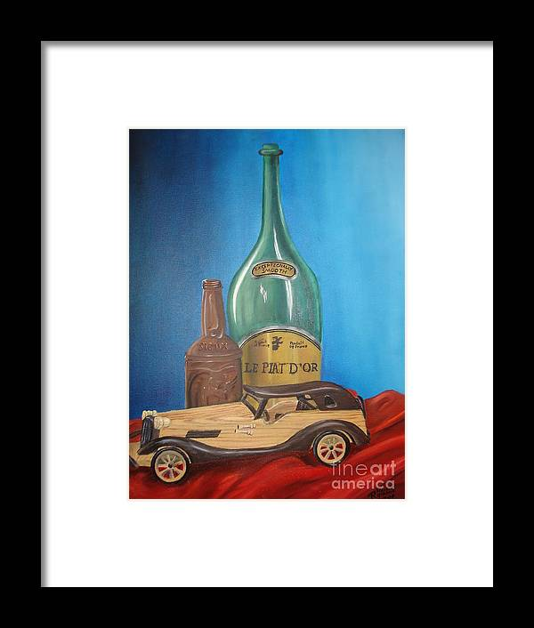 Old Car Green Bottle Alchohol Wood Red Cloth Beer Collectable Table Top Cool Toy Whine Smooth Framed Print featuring the painting Toy Car And Bottles by Rosanna Hardin