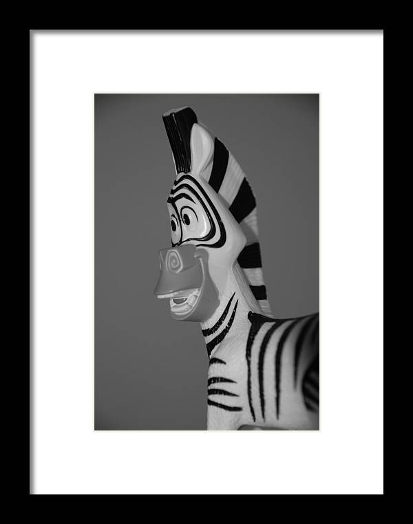 Black And White Framed Print featuring the photograph Toy Zebra by Rob Hans