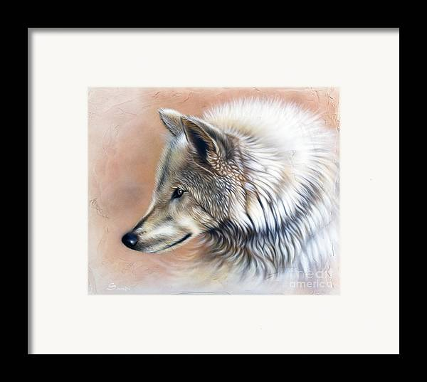 Wolves Framed Print featuring the painting Trace IIi by Sandi Baker
