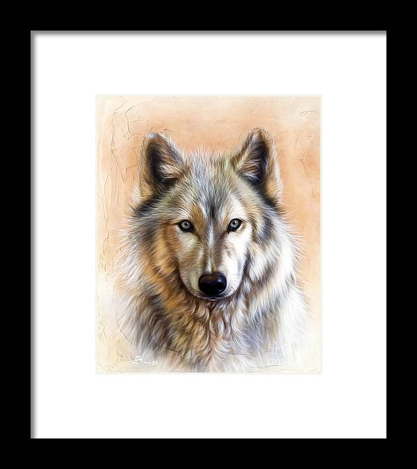 Wolves Framed Print featuring the painting Trace Two by Sandi Baker