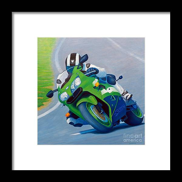 Motorcycle Framed Print featuring the painting Track Day - Kawasaki Zx9 by Brian Commerford
