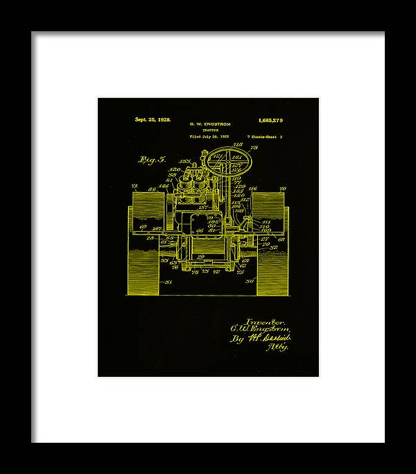 Patent Framed Print featuring the mixed media Tractor Patent Drawing 5h by Brian Reaves