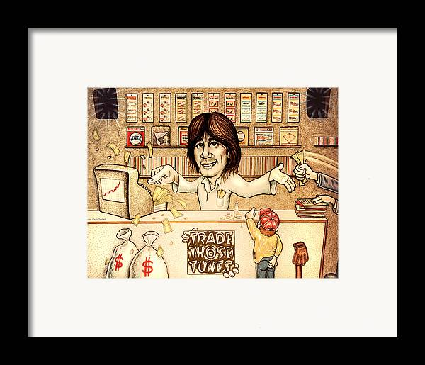 Trade Those Tunes Framed Print featuring the drawing Trade Those Tunes by Cristophers Dream Artistry