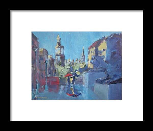 Famous Travel Framed Print featuring the painting Trafalgar Square by Bryan Alexander