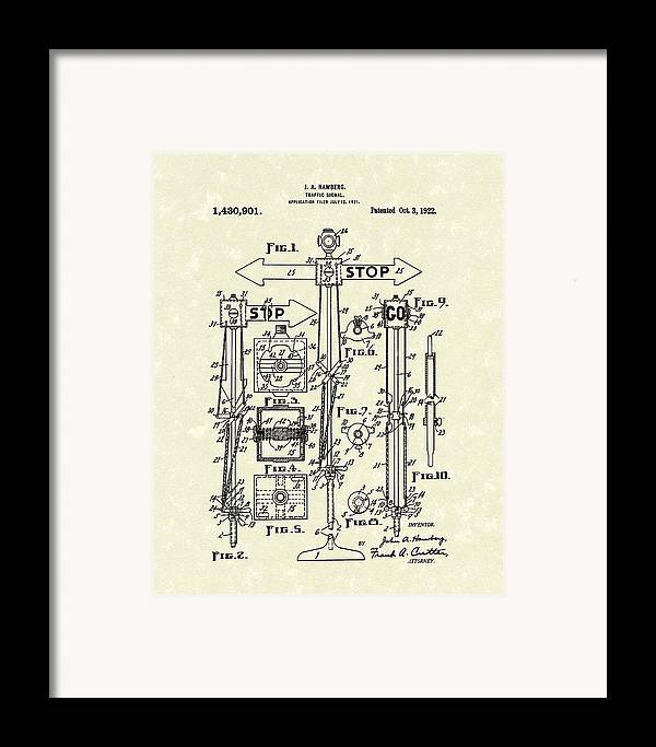 Hamberg Framed Print featuring the drawing Traffic Signal 1922 Patent Art by Prior Art Design