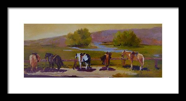 Equine Riding Trails Framed Print featuring the painting Trail Riding by Xx X