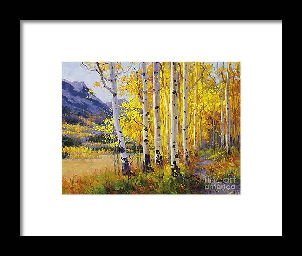 Gary Framed Print featuring the painting Trail Through Golden Aspen by Gary Kim