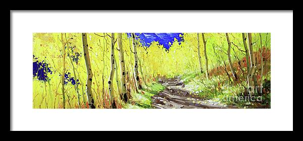 Gay Kim Aspen Tree Landscape Nature Birch Trees Horizontal Canopy Colorful Sky Original Oil Painting Contemporary Realism Artist Southwestern Santa Fe National Park Aspen Rocky Moutain Golden Oil Print Art Nature Scenes Healing Trail Maroon Bells Santafe Fall Trees Autumn Season Beautiful Beauty Yellow Red Orange Fall Leaves Foliage Autumn Leaf Color Mountain Oil Painting Original Art Horizontal Landscape National Park Morning Wallpaper Outdoor Panoramic Peaceful Scenic Sky Travel Season Bright Framed Print featuring the painting Trail to Maroon Bells by Gary Kim