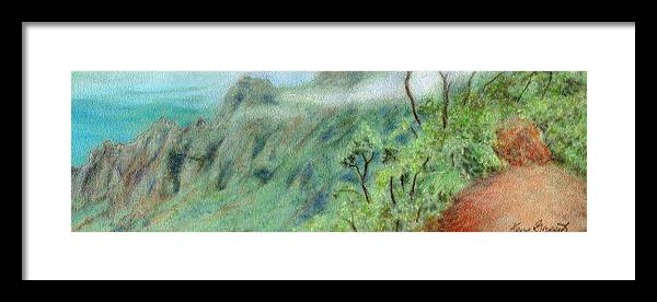Rainbow Colors Pastel Framed Print featuring the painting Trail's End by Kenneth Grzesik