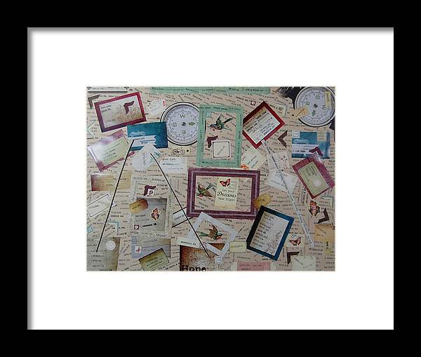 Paper Framed Print featuring the mixed media Trailways Cities by Charla Van Vlack