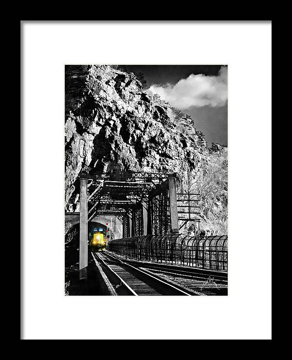 Harpers Ferry Framed Print featuring the photograph Train At Harpers Ferry by Williams-Cairns Photography LLC
