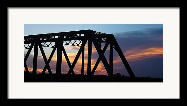 Bridge Framed Print featuring the photograph Train Bridge Sunset by Ana Villaronga