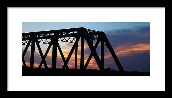 Bridge Framed Print featuring the photograph Train Bridge Sunset by Ana Villaronga