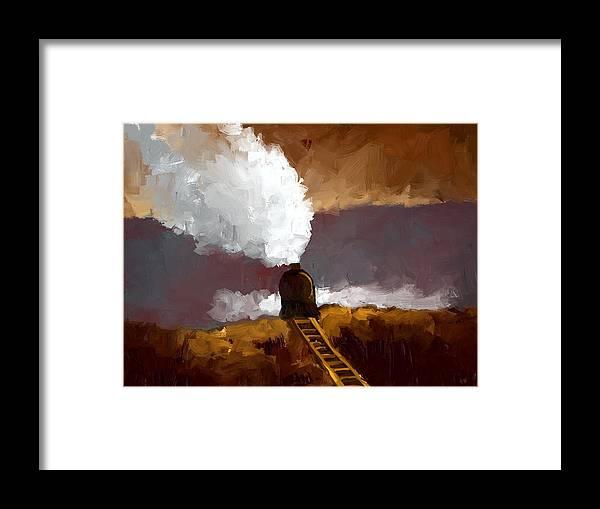 Landscape Framed Print featuring the painting Train by Bruce Young