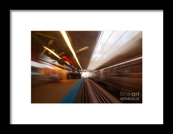 Train Framed Print featuring the photograph Train Station In Motion by Sven Brogren