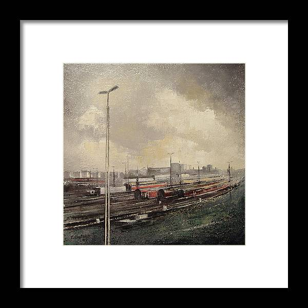 Train Framed Print featuring the painting Train station by Tomas Castano