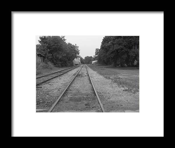 Train Framed Print featuring the photograph Train To Nowhere by Rhonda Barrett