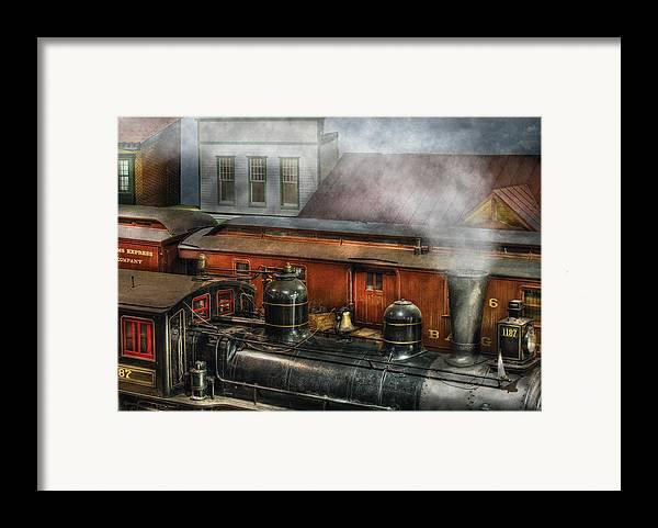 Savad Framed Print featuring the photograph Train - Yard - The Train Yard II by Mike Savad