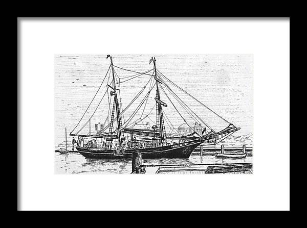 Landscape Framed Print featuring the drawing Training Ship Tabor Boy At Woods Hole Town Dock by Vic Delnore