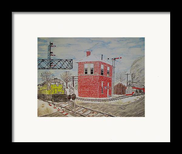 Train Framed Print featuring the painting Trains In Motion by Kathy Marrs Chandler