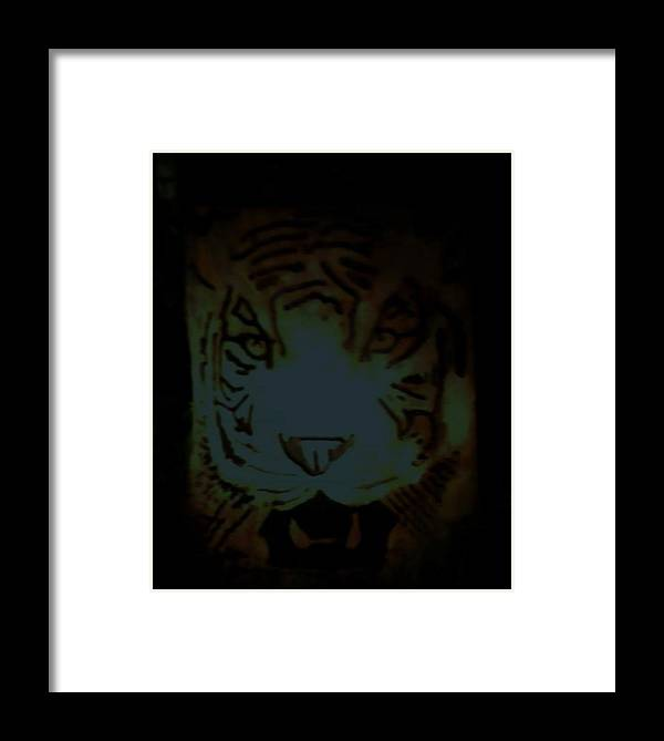 Tiger Framed Print featuring the relief Tramp by Calixto Gonzalez