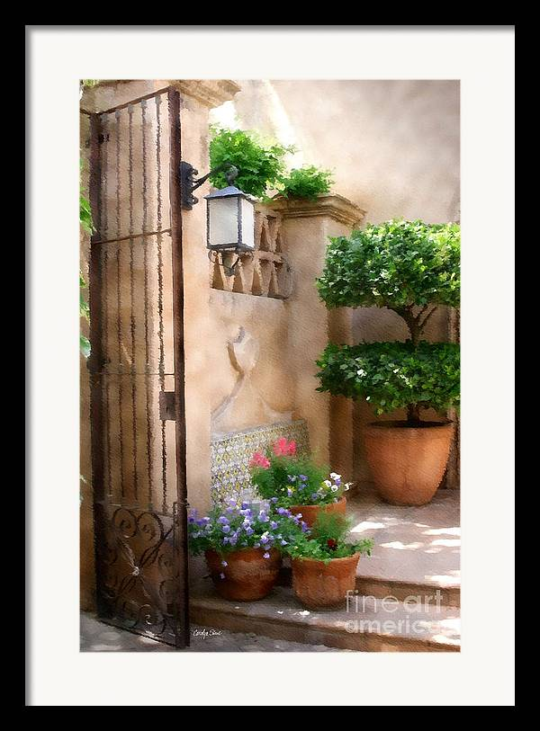 Doorway Landscape Still Life Painting Framed Print featuring the painting Tranquil Oasis by Carolyn Staut