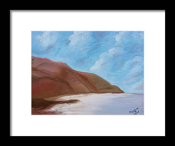 Landscape Framed Print featuring the painting Tranquil Ocean by Liz Vernand