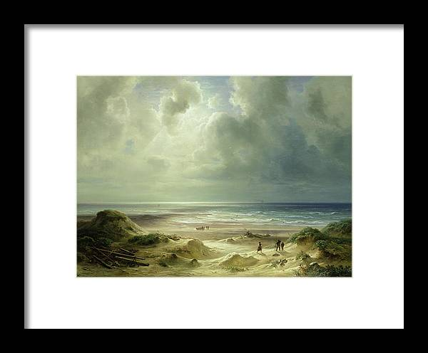Dune By Hegoland Framed Print featuring the painting Tranquil Sea by Carl Morgenstern