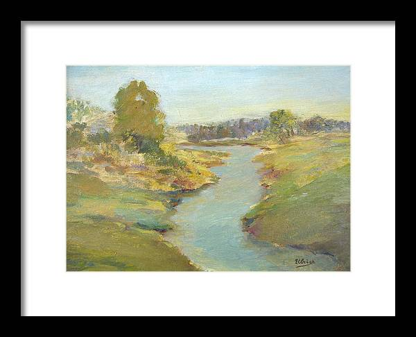 Landscape Framed Print featuring the painting Tranquil Stream by Jeannette Ulrich