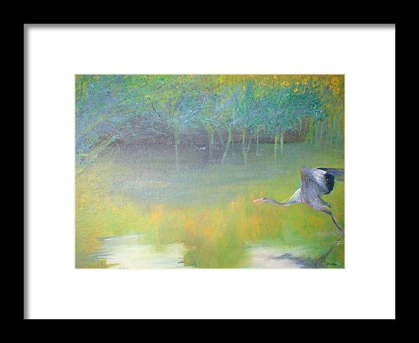 Landscape Framed Print featuring the painting Tranquil by Tinsu Kasai