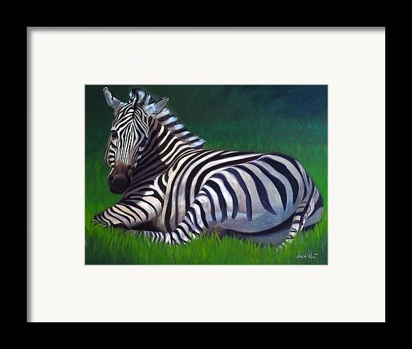 Zebra Framed Print featuring the painting Tranquility by Greg Neal
