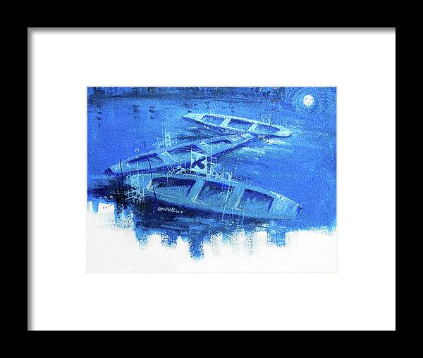 3canoes Framed Print featuring the painting Tranquility by Olushegun Oduyele