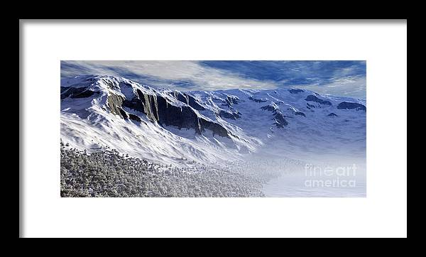 Mountains Framed Print featuring the digital art Tranquility by Richard Rizzo