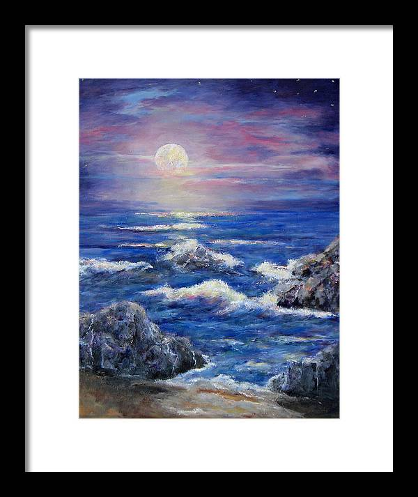 Full Moon On The California Coast Framed Print featuring the painting Tranquility by Thomas Restifo