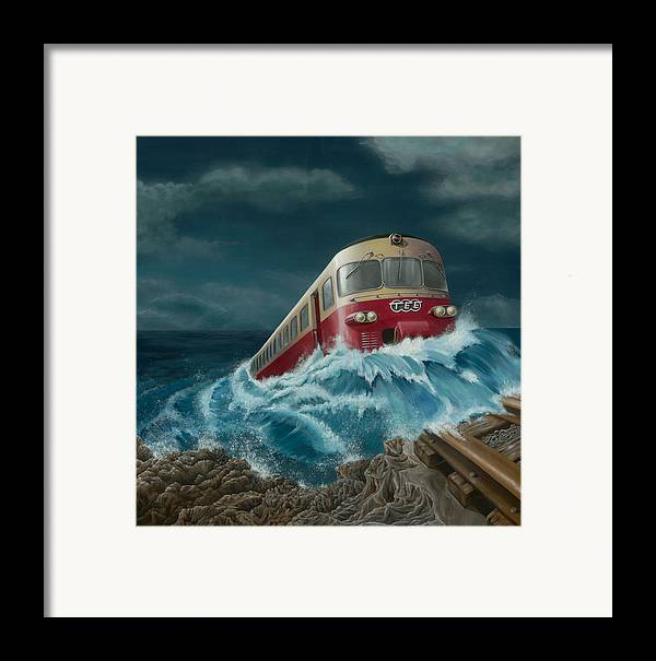 Surreal Framed Print featuring the painting Trans Europe Express by Patricia Van Lubeck