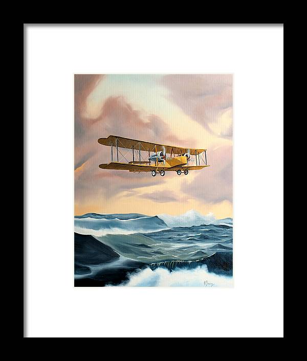 Aircraft Art Framed Print featuring the painting Transatlantic by Kenneth Young