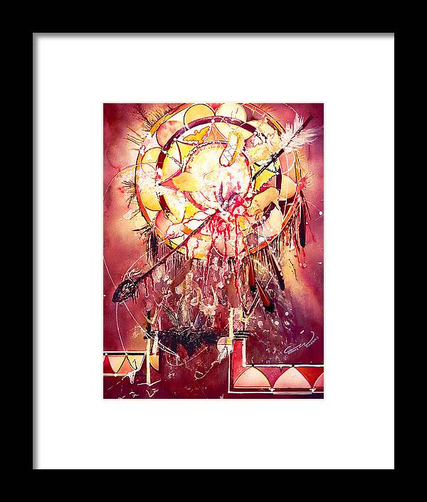 Spirits Framed Print featuring the painting Transcending Indian Spirit by Connie Williams