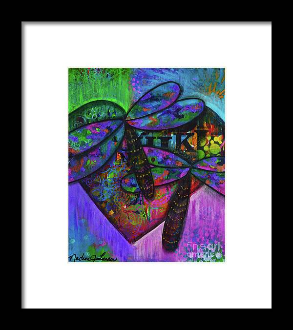 Dragonfly Framed Print featuring the painting Transformation Happens by Nadine Larder